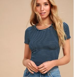 Lulu's Navy Blue Striped Cropped Top